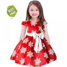 6269c2378664 Pretty Girls PrincessDress Lovely Floral Print Snowflake Flower Kids Dress  Baby Girl Clothes Princess Dresses Carnival