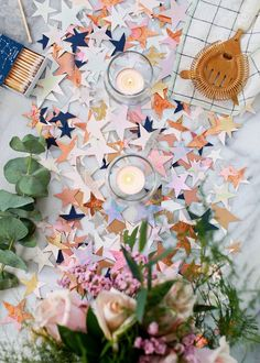 Mar 2020 - DIY Metallic and Iridescent Star Table Confetti for New Year's Eve made with Fiskars Thick Materials Star Shape Punches and Original Orange-handled scissors Whatever Forever, Carton Invitation, Sparkle Party, Merry Christmas, Diy Christmas, Xmas, Table Confetti, Idee Diy, Party Entertainment