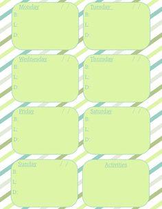 Printable Weekly Menu and Activity Planner