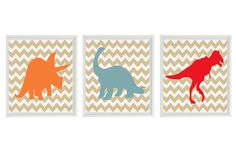 Dinosaur Art Print  Nursery Boy Room Chevron Tan by RizzleandRugee
