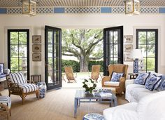 What an amazing combination of blue and white and Chinoiserie! These are photos of the pool house of Blue Ridge Farm in Albemarle, Virgini. Mid Century Modern Furniture, Mid-century Modern, Sweet Home, Blue And White, House Design, Interior Design, Outdoor Decor, Blue Ridge, Home Decor