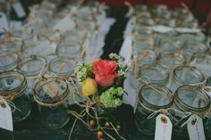 cute favor. mason jars with tags tied to them. each guest can write their name and use the glass all night then take it home