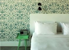Wall paper. Side table.
