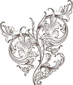 Wide Leaf Acanthus Scroll hand engraved scrollwork swirls
