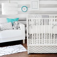 Zig Zag by New Arrivals - Baby Crib Bedding Set    Inspired by the newly popular chevron pattern, our Zig Zag Baby Crib Bedding will give your nursery a modern, clean look. Crisp white & gray lends a fresh feel to your new baby's room.    Our grey baby b . Just what I am looking for, Check these out :  http://adriankmarketing.com/products/?cat=24
