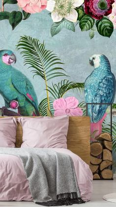 Is your home ready for a makeover? Take a look at these beautiful home decor ideas to help give your bedroom, living room or dining room a new lease of life! Think bright colours, tropical motifs and floral designs for a fun and fresh interior you will love! Place a fresh floral wallpaper behind your sofa for a garden inspired living room interior, or choose a tropical wallpaper for behind your bed to create a relaxing escape. Whatever you like, find it at Wallsauce.com! #homedecor… Parrot Wallpaper, Tropical Wallpaper, Colorful Wallpaper, Wallpaper Jungle, Wallpaper Decor, Home Wallpaper, Pink Wallpaper Bedroom, Feature Wallpaper, Mural Art