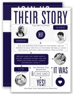 Tell your guests the story of your love with an infographic wedding invitation.