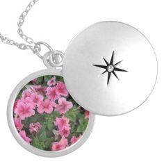 Petunia #Silver #Locket Pendant http://zazzle.com/rinchen365flower*  #necklace         #jewelry