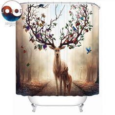 Buy Seasons Change by JoJoesArt Shower Curtain Floral Deer Elk Waterproof Bath Curtain With Hooks for Bathroom Decoration Elephant Shower Curtains, Floral Shower Curtains, Mandala Shower Curtain, Bohemian Bathroom, Curtain Material, Home Curtains, Printed Curtains, Eco Friendly Fashion, Gift Store