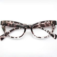 4169d83490 Women s Vintage Retro Cat Eye Pink Black Leopard Tea Eyeglass Frames NO  LENS