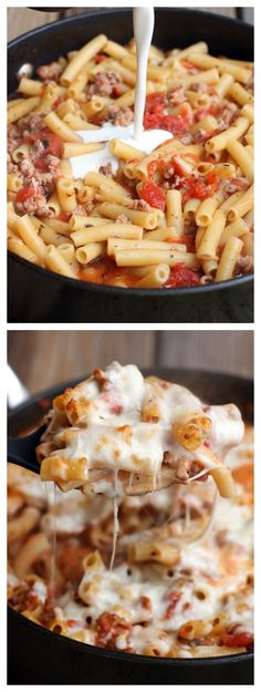One Pan Baked Ziti--this is one of my families favorite dishes and it's soo EASY!
