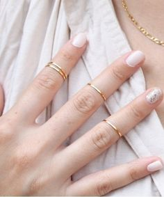4 Gold Mid Finger Rings -I love mid rings right now.