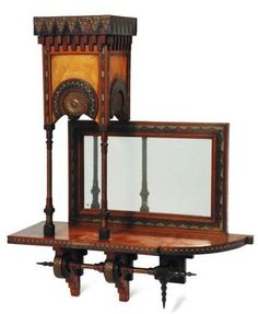 CARLO BUGATTI small shelf in turned wood inlaid Moorish geometric decoration tin and glass-bottomed copper. Around 1898. H 72, P 20.5, L 56.5 cm