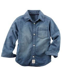 A wardrobe essential, this versatile soft chambray button-front can be tucked into twills or layered over his favorite henley. Baby Boy Tops, Carters Baby Boys, Toddler Boys, Baby Boy Dress, Baby Boy Outfits, Baby Shirts, Cute Shirts, Chambray, Carter Kids