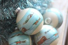 Vintage Glass Ornaments Blue white winter scene covered bridge and sleigh set 4 made USA in box. $12.00, via Etsy.