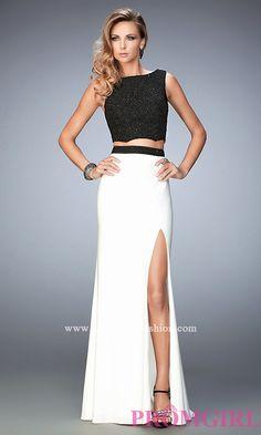 Black Top White Long Jersey Skirt Prom Dress by Gigi Style: LF-22578