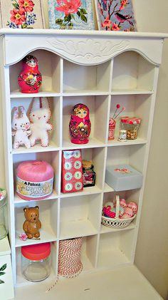 Craft Room :EXPLORED!, via Flickr. CAN TAKE ANY PLAIN SHELF AND PUT FANCY TRIM ON IT