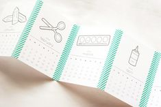 Make A Fun Print + Color Washi Tape Calendar - cute