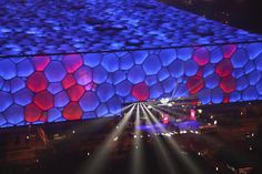 The Beijing National Aquatics Center, also known as Water Cube, was built by Chris Bosse and Rob Leslie-Carter in 2008.