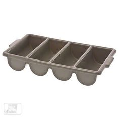 Browne Foodservice 1990 Plastic 4-Compartment Cutlery Box by Browne Foodservice. $16.49. 21-1/2-inch length by 11-3/4-inch width by 3-3/4-inch height. Made of high-density plastic. Filled with dirty utensils, washed with the flatware and then used to quickly sort through the newly-cleaned flatware. A four-compartment cutlery box is enormously important in any foodservice establishment. It makes it easy to keep everything organized and ready for service.