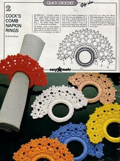 Magic Crochet Nº 40 - Edivana - Álbuns da web do Picasa Magic Crochet n° 40 - leila tkd - Álbuns da web do Picasa.This comes from a free magazine! Napkin ring with chart: Croche and Points: Kitchen Items I don't know if anyone really uses Napkin Rings Crochet Jewelry Patterns, Crochet Motifs, Crochet Accessories, Crochet Doilies, Crochet Flowers, Blog Crochet, Crochet Home, Crochet Crafts, Crochet Projects