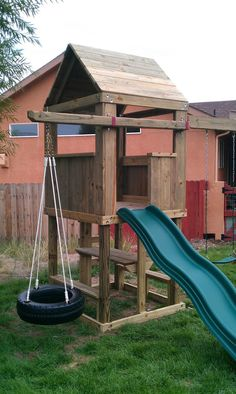 #4420-24 4'x4' clubhouse with wooden roof, ladder entry, standard slide, picnic table, 8' swing beam with 2 standard swings & standard tire swing cantilever