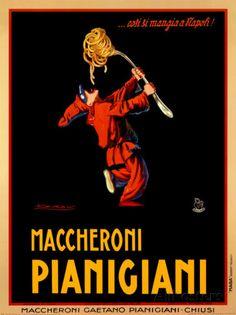 Makkaroni Pianigiani, 1922 Poster von Achille Luciano Mauzan bei AllPosters.de