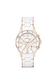 Marc by Marc Jacobs White/Rose Rock Chronograph Ladies Watch 40MM