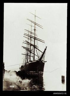 Four-masted ship JAMES DOLLAR. 1901-1925. (Australian National Maritime Museum.) Nautical Pictures, Old Sailing Ships, Merchant Marine, Strange Photos, Wooden Boats, Tall Ships, National Museum, Nautical Theme, Vintage Photographs