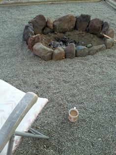 Having coffee in our new backyard firepit. Just like waking up at a campground...fresh air, birds and a sunrise too.