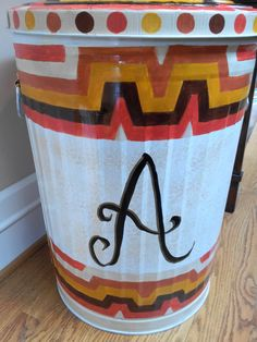 20 Gallon Hand Painted - Monogrammed -  Galvanized Can by krystasinthepointe on Etsy