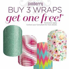 Jamberry nail wraps! Remember it's always a buy 3 get 1 free deal! #Nails #Manicure #Sale