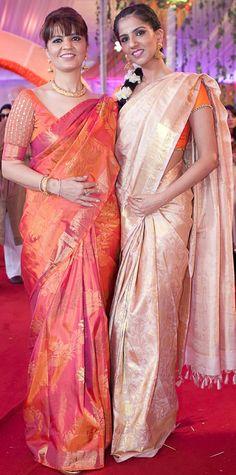 Neeta and Nishika Lulla in silk saree or sari and blouse. Indian fashion.