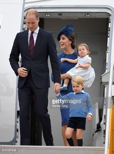 Prince William Duke of Cambridge Prince George Catherine Duchess of Cambridge and Princess Charlotte arrive at Victoria Airport, 9/24/2016
