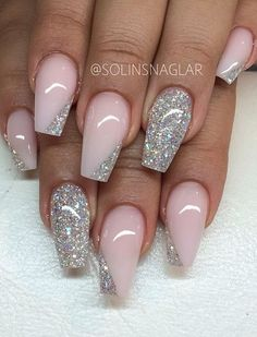 Original and stylish |• pink and silver sparkle |• prom nails |• acrylic