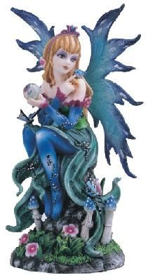 Blue Fairy With Butterfly Figurine Statue~free shipping