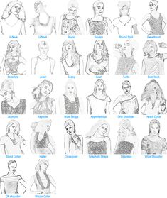 Handy Reference Chart for NECKLINE STYLES... which are fitting, flattering, suitable for your shape?