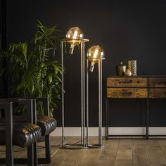This industrial floor lamp has two light sources, is made of metal and is finished in old silver. The light sourcs distributes the light in a beautiful way through the room, creating a great ambiance. Retro Interior Design, Flat Interior, Home Office Decor, Home Decor Bedroom, Room Decor, Loft Stil, Industrial Floor Lamps, Industrial Bedroom, Retro Lampe