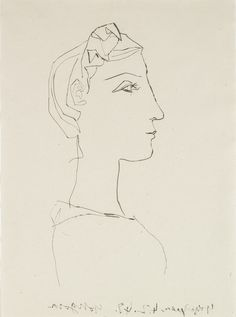 Pablo Picasso (Málaga, Spain, 1881-1973, Mougins, France), Profile of a woman with braid, 1948. Etching, drypoint on China paper. Meadows Museum Modern and Contemporary Artists Collection