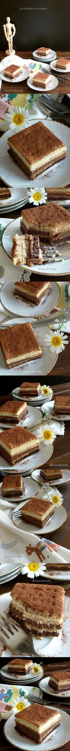 Apetecible tarta de galletas a los tres chocolates / http://www.elzurrondelospostres.com/