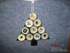 Χριστουγεννιάτικες κατασκευές από παιδιά - Χριστουγεννιάτικο δέντρο με καπάκια μπουκαλιών