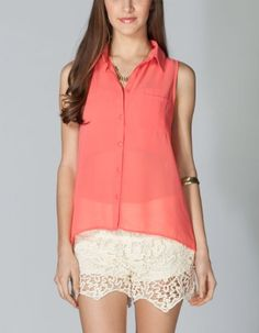 FULL TILT Essential Button Front Chiffon Womens Shirt - Listing price: $19.99 Now: $15.99