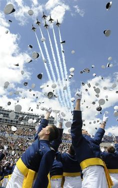 Cadets toss their caps and cheer at the end of the Air Force Academy graduation ceremony on May 25 in Colorado Springs, Colo. Us Air Force, Air Force Academy, Naval Academy, Military Academy, Military Love, Air Show, Colorado Springs, Fighter Jets, Fighter Pilot