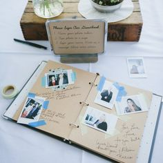 INSTAX's photoes + handwritten wishes = fun for guests & original wedding guestbook.