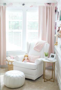 Baby Emma's Nursery Reveal - Eat Yourself Skinny Baby Emma's pink floral nursery Blush Nursery, Floral Nursery, Nursery Neutral, Nursery Bedding, Nursery Room, Pink Gold Nursery, Baby Room Curtains, Baby Bedroom, Baby Room Decor