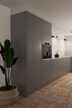 #keuken #hoekkeuken #mat #grijs #visgraat Modern Grey Kitchen, Black Kitchen Decor, Modern Kitchen Design, Kitchen Interior, Black Kitchens, Home Kitchens, Open Plan Kitchen Dining Living, Diy Home Furniture, Küchen Design