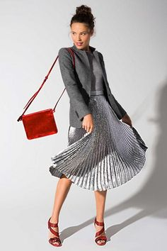 A classic blazer and midi skirt feel SO much more special for the office done in sparkly silver metallic. Come find out why we're loving this fall 2015 trend and how we imagine wearing it