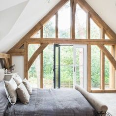 Frame House Higham Findlow - Self Build Award Winner glazed gable in the bedroom, Carpenter Oak Frame House Timber frame bedroom.glazed gable in the bedroom, Carpenter Oak Frame House Timber frame bedroom. Oak Frame House, A Frame Cabin, Timber Frame Houses, Timber Frames, Rustic Home Design, Rustic Style, Bohemian Style, Boho Chic, Shabby Chic