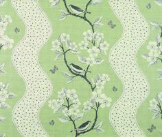 Song Birds - Lettuce , Clay , Charcoal - Linen Union Vanessa Arbuthnott #naturalcurtaincompany #green