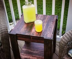 Below are directions for a simple end table made from pallets.